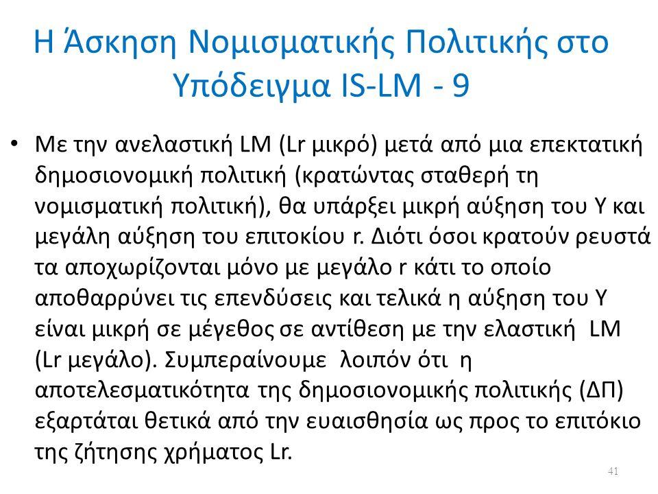 Η Άσκηση Νομισματικής Πολιτικής στο Υπόδειγμα IS-LM - 9 Mε την ανελαστική LM (Lr μικρό) μετά από μια επεκτατική δημοσιονομική πολιτική (κρατώντας σταθερή τη νομισματική πολιτική), θα υπάρξει μικρή αύξηση του Υ και μεγάλη αύξηση του επιτοκίου r.