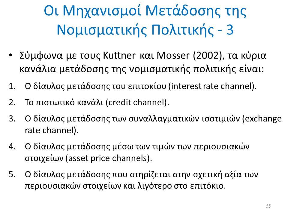 Οι Μηχανισμοί Μετάδοσης της Νομισματικής Πολιτικής - 3 Σύμφωνα με τους Kuttner και Mosser (2002), τα κύρια κανάλια μετάδοσης της νομισματικής πολιτικής είναι: 1.Ο δίαυλος μετάδοσης του επιτοκίου (interest rate channel).