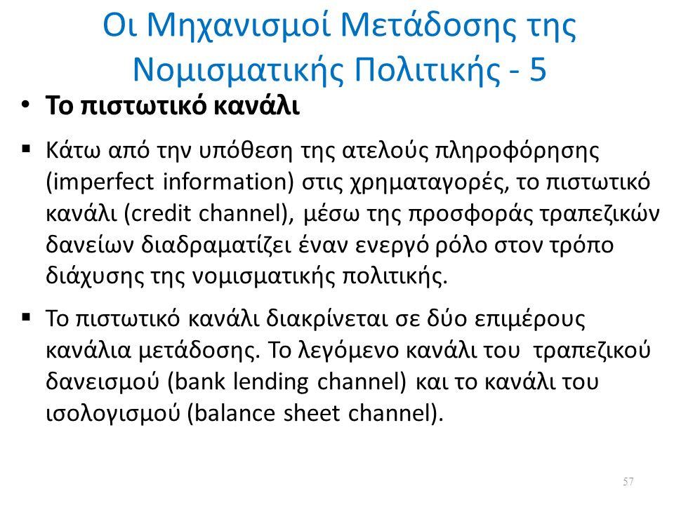 Οι Μηχανισμοί Μετάδοσης της Νομισματικής Πολιτικής - 5 Το πιστωτικό κανάλι  Κάτω από την υπόθεση της ατελούς πληροφόρησης (imperfect information) στις χρηματαγορές, το πιστωτικό κανάλι (credit channel), μέσω της προσφοράς τραπεζικών δανείων διαδραματίζει έναν ενεργό ρόλο στον τρόπο διάχυσης της νομισματικής πολιτικής.