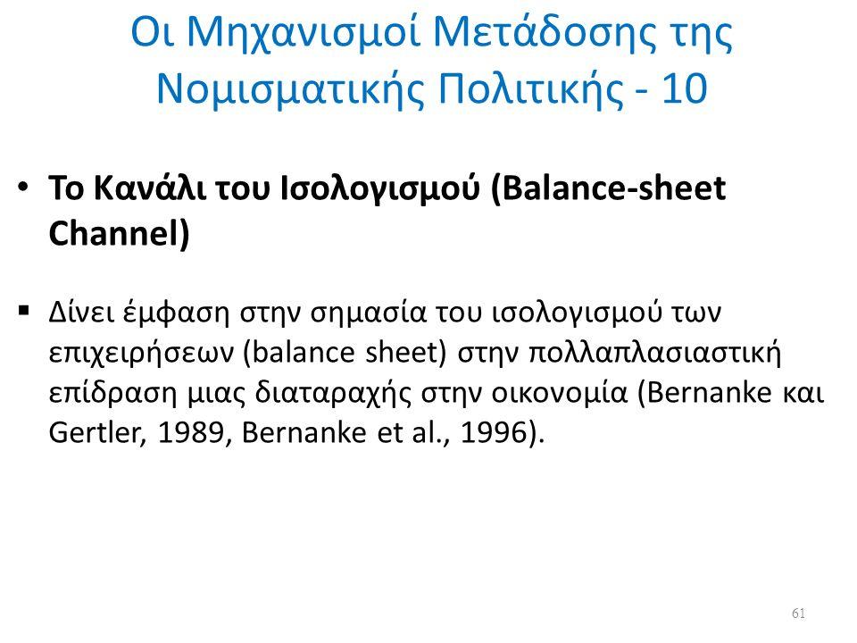 Οι Μηχανισμοί Μετάδοσης της Νομισματικής Πολιτικής - 10 Το Κανάλι του Ισολογισμού (Balance-sheet Channel)  Δίνει έμφαση στην σημασία του ισολογισμού των επιχειρήσεων (balance sheet) στην πολλαπλασιαστική επίδραση μιας διαταραχής στην οικονομία (Bernanke και Gertler, 1989, Bernanke et al., 1996).