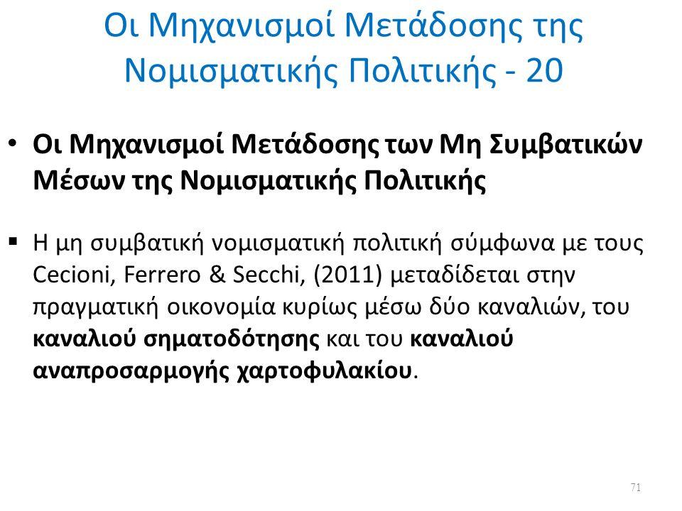 Οι Μηχανισμοί Μετάδοσης της Νομισματικής Πολιτικής - 20 Οι Μηχανισμοί Μετάδοσης των Μη Συμβατικών Μέσων της Νομισματικής Πολιτικής  Η μη συμβατική νομισματική πολιτική σύμφωνα με τους Cecioni, Ferrero & Secchi, (2011) μεταδίδεται στην πραγματική οικονομία κυρίως μέσω δύο καναλιών, του καναλιού σηματοδότησης και του καναλιού αναπροσαρμογής χαρτοφυλακίου.