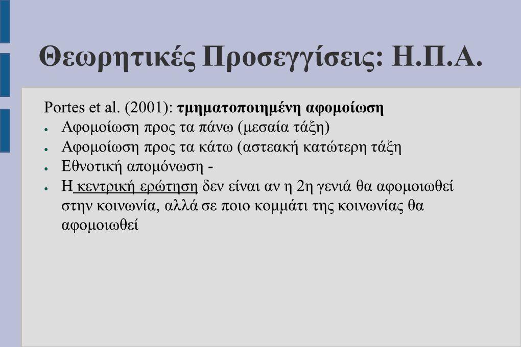 Θεωρητικές Προσεγγίσεις: Η.Π.Α. Portes et al.