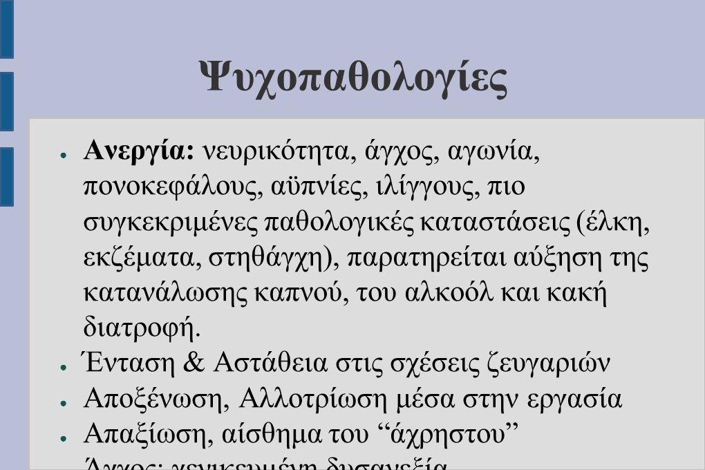 Ψυχοπαθολογίες ● Ανεργία: νευρικότητα, άγχος, αγωνία, πονοκεφάλους, αϋπνίες, ιλίγγους, πιο συγκεκριμένες παθολογικές καταστάσεις (έλκη, εκζέματα, στηθ