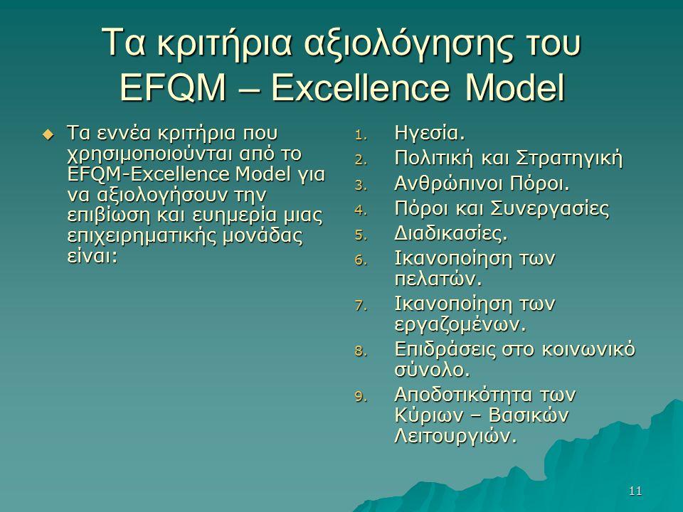 11 Τα κριτήρια αξιολόγησης του EFQM – Excellence Model  Τα εννέα κριτήρια που χρησιμοποιούνται από το EFQM-Excellence Model για να αξιολογήσουν την επιβίωση και ευημερία μιας επιχειρηματικής μονάδας είναι: 1.
