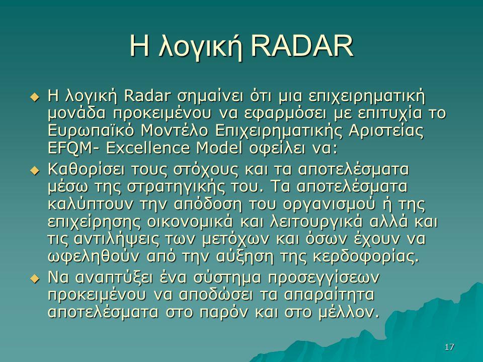 17 Η λογική RADAR  Η λογική Radar σημαίνει ότι μια επιχειρηματική μονάδα προκειμένου να εφαρμόσει με επιτυχία το Ευρωπαϊκό Μοντέλο Επιχειρηματικής Αριστείας EFQM- Excellence Model οφείλει να:  Καθορίσει τους στόχους και τα αποτελέσματα μέσω της στρατηγικής του.