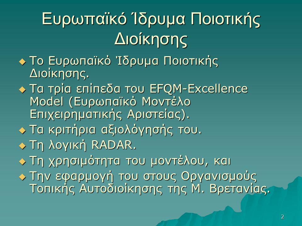 2 Ευρωπαϊκό Ίδρυμα Ποιοτικής Διοίκησης  Το Ευρωπαϊκό Ίδρυμα Ποιοτικής Διοίκησης.  Τα τρία επίπεδα του EFQM-Excellence Model (Ευρωπαϊκό Μοντέλο Επιχε