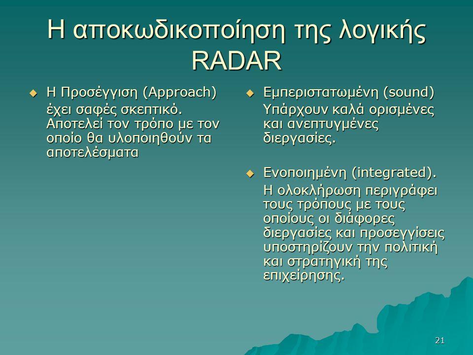 21 Η αποκωδικοποίηση της λογικής RADAR  Η Προσέγγιση (Approach) έχει σαφές σκεπτικό. Αποτελεί τον τρόπο με τον οποίο θα υλοποιηθούν τα αποτελέσματα 