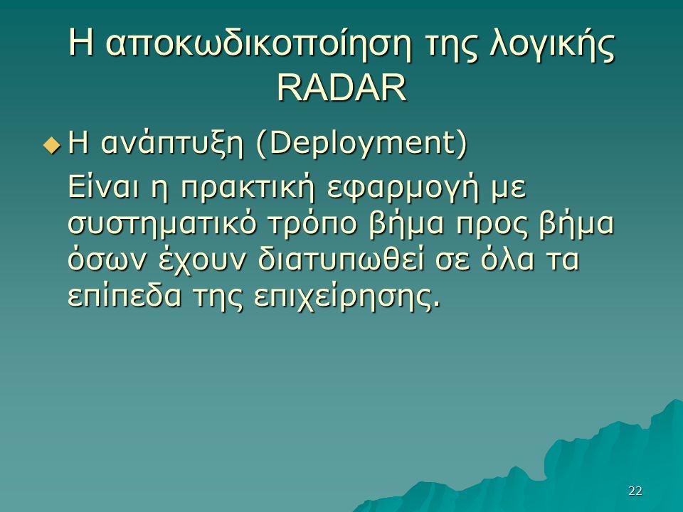 22 Η αποκωδικοποίηση της λογικής RADAR  Η ανάπτυξη (Deployment) Είναι η πρακτική εφαρμογή με συστηματικό τρόπο βήμα προς βήμα όσων έχουν διατυπωθεί σε όλα τα επίπεδα της επιχείρησης.