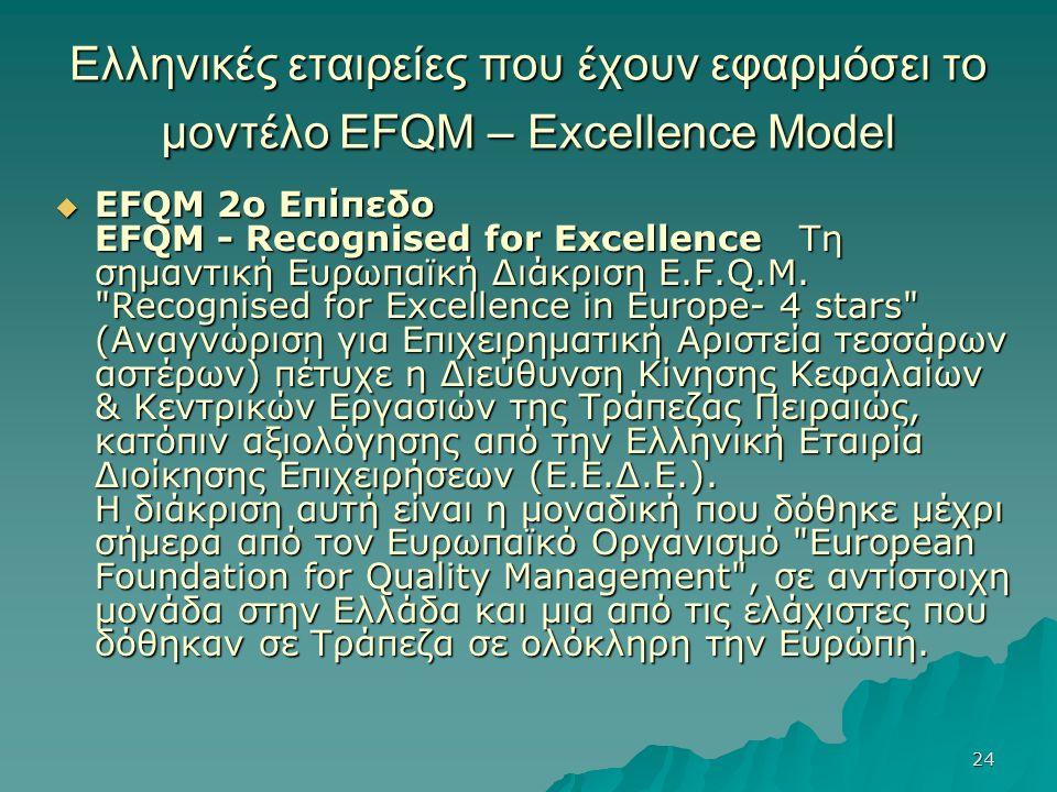 24 Ελληνικές εταιρείες που έχουν εφαρμόσει το μοντέλο EFQM – Excellence Model  EFQM 2ο Επίπεδο EFQM - Recognised for Excellence Τη σημαντική Ευρωπαϊκή Διάκριση E.F.Q.M.