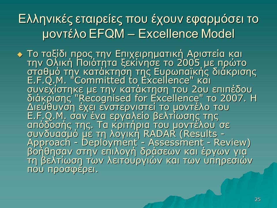25 Ελληνικές εταιρείες που έχουν εφαρμόσει το μοντέλο EFQM – Excellence Model  Το ταξίδι προς την Επιχειρηματική Αριστεία και την Ολική Ποιότητα ξεκίνησε το 2005 με πρώτο σταθμό την κατάκτηση της Ευρωπαϊκής διάκρισης E.F.Q.M.
