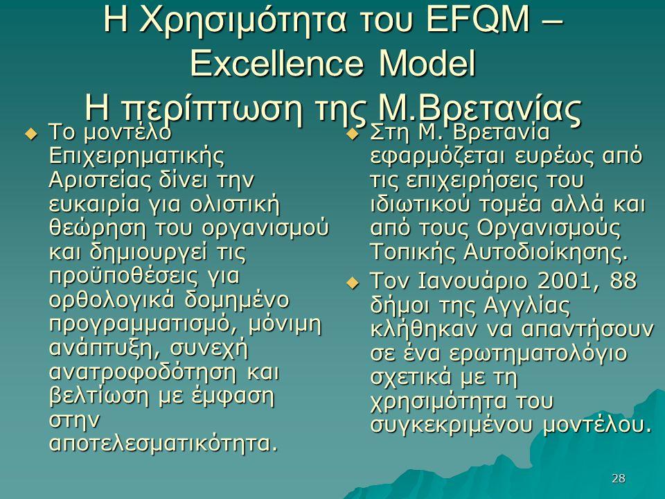 28 Η Χρησιμότητα του EFQM – Excellence Model Η περίπτωση της Μ.Βρετανίας  Το μοντέλο Επιχειρηματικής Αριστείας δίνει την ευκαιρία για ολιστική θεώρησ