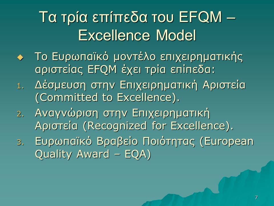 7 Τα τρία επίπεδα του EFQM – Excellence Model  Το Ευρωπαϊκό μοντέλο επιχειρηματικής αριστείας EFQM έχει τρία επίπεδα: 1. Δέσμευση στην Επιχειρηματική