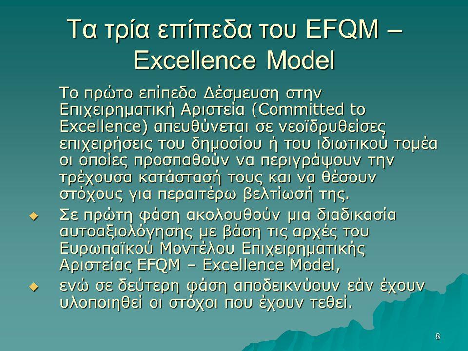 8 Τα τρία επίπεδα του EFQM – Excellence Model Το πρώτο επίπεδο Δέσμευση στην Επιχειρηματική Αριστεία (Committed to Excellence) απευθύνεται σε νεοϊδρυθείσες επιχειρήσεις του δημοσίου ή του ιδιωτικού τομέα οι οποίες προσπαθούν να περιγράψουν την τρέχουσα κατάστασή τους και να θέσουν στόχους για περαιτέρω βελτίωσή της.