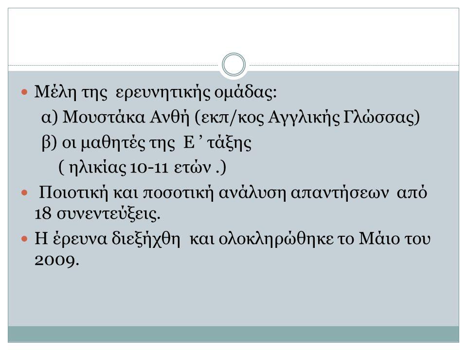 Μέλη της ερευνητικής ομάδας: α) Μουστάκα Ανθή (εκπ/κος Αγγλικής Γλώσσας) β) οι μαθητές της Ε ' τάξης ( ηλικίας 10-11 ετών.) Ποιοτική και ποσοτική ανάλυση απαντήσεων από 18 συνεντεύξεις.
