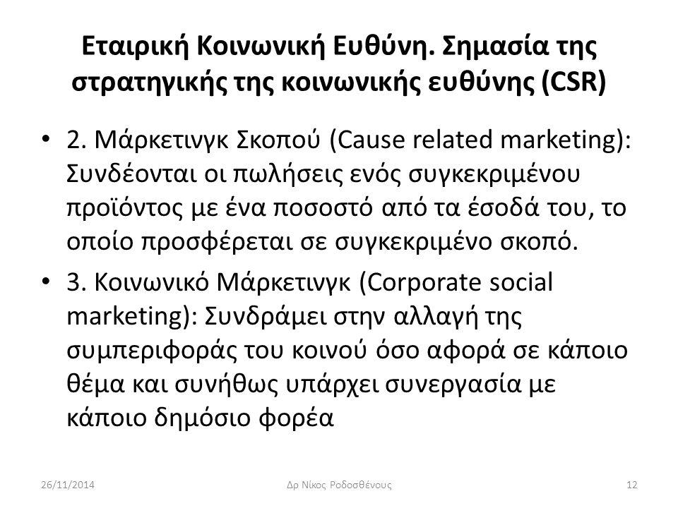 Εταιρική Κοινωνική Ευθύνη. Σημασία της στρατηγικής της κοινωνικής ευθύνης (CSR) 2. Μάρκετινγκ Σκοπού (Cause related marketing): Συνδέονται οι πωλήσεις