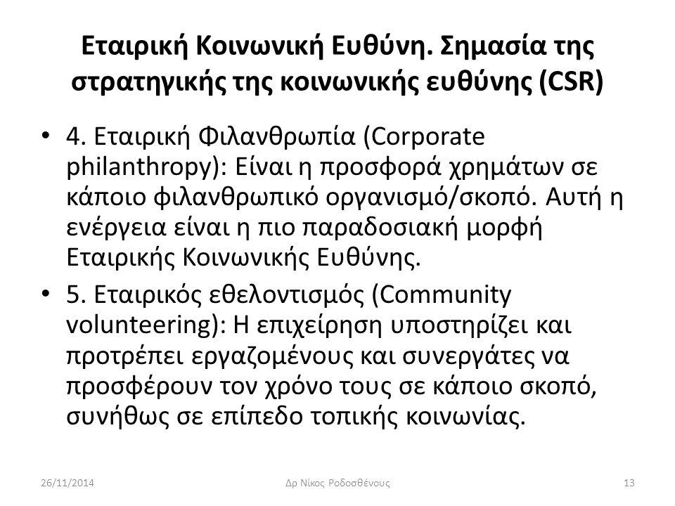 Εταιρική Κοινωνική Ευθύνη. Σημασία της στρατηγικής της κοινωνικής ευθύνης (CSR) 4. Εταιρική Φιλανθρωπία (Corporate philanthropy): Είναι η προσφορά χρη