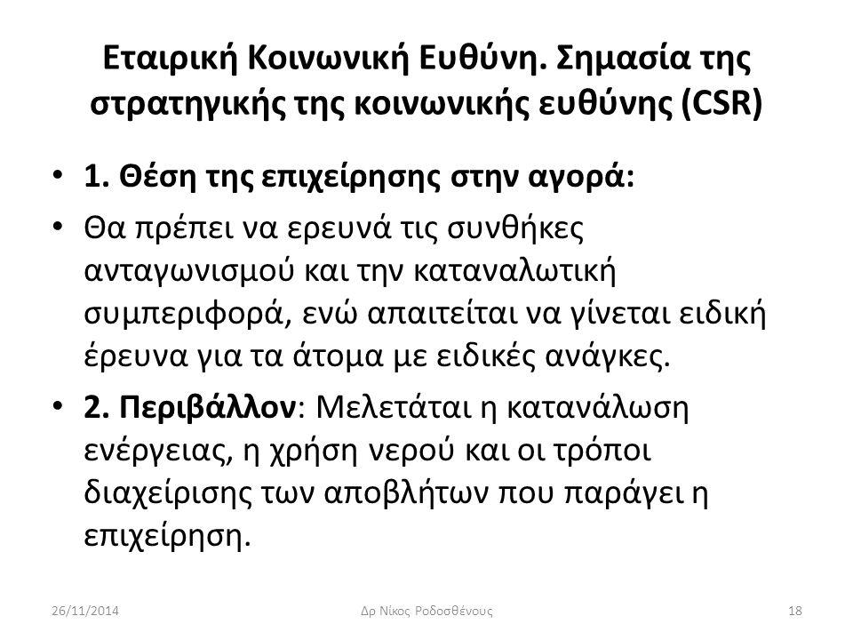Εταιρική Κοινωνική Ευθύνη. Σημασία της στρατηγικής της κοινωνικής ευθύνης (CSR) 1. Θέση της επιχείρησης στην αγορά: Θα πρέπει να ερευνά τις συνθήκες α