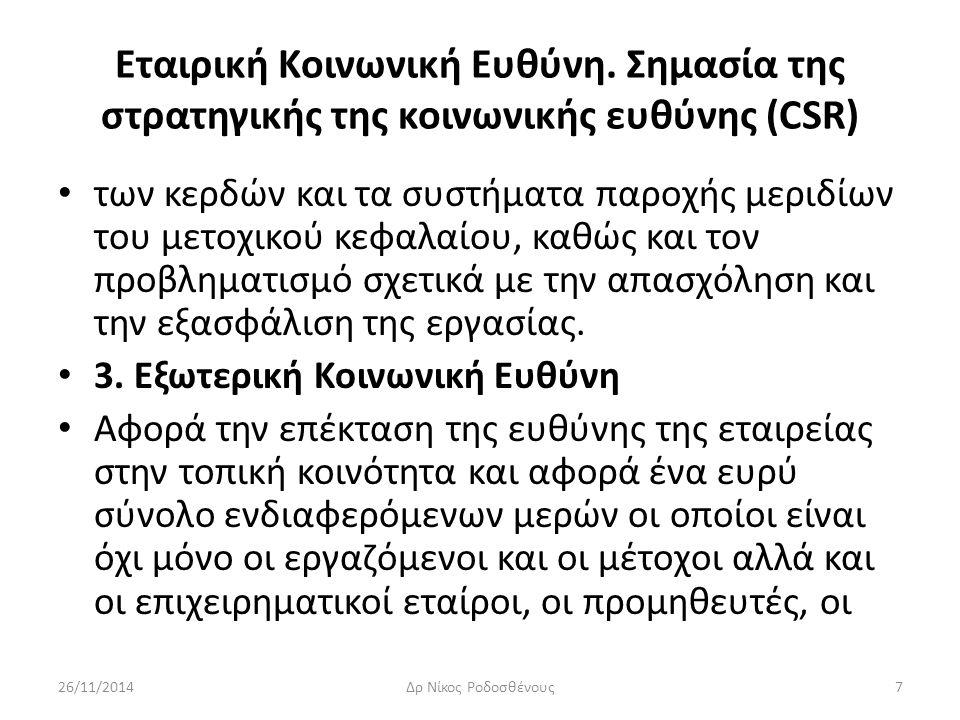 Εταιρική Κοινωνική Ευθύνη. Σημασία της στρατηγικής της κοινωνικής ευθύνης (CSR) των κερδών και τα συστήματα παροχής μεριδίων του μετοχικού κεφαλαίου,