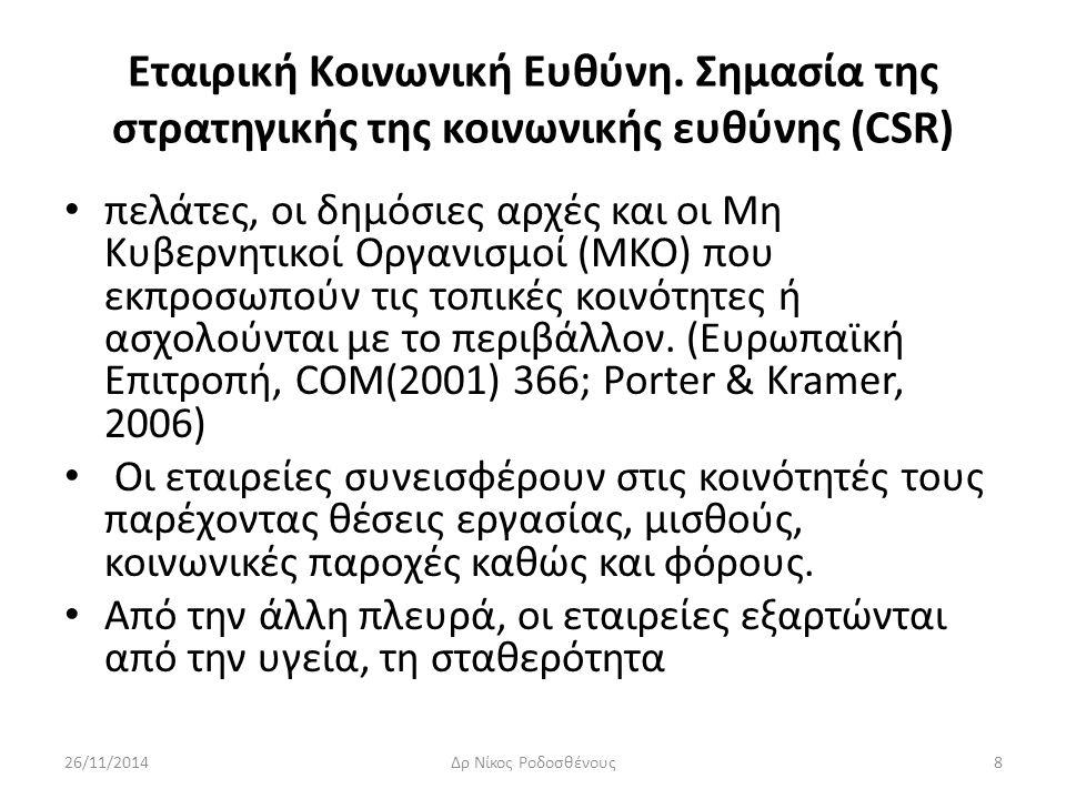 Εταιρική Κοινωνική Ευθύνη. Σημασία της στρατηγικής της κοινωνικής ευθύνης (CSR) πελάτες, οι δημόσιες αρχές και οι Μη Κυβερνητικοί Οργανισμοί (ΜΚΟ) που