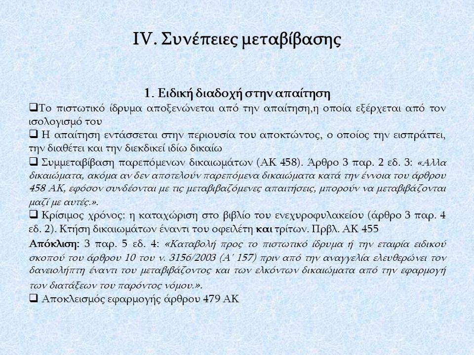 ΙV. Συνέπειες μεταβίβασης 1.