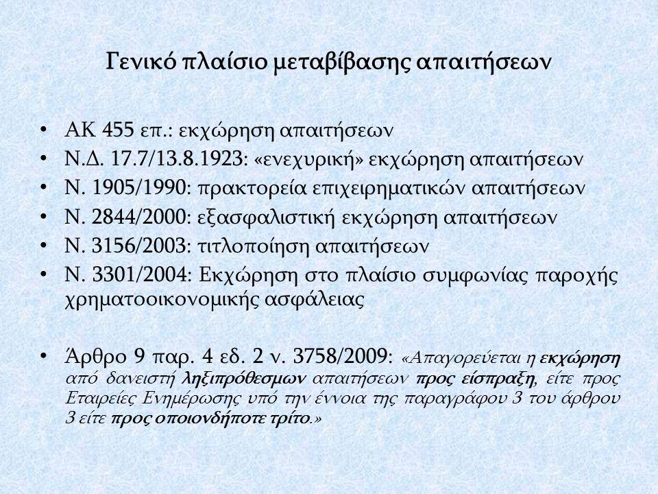Γενικό πλαίσιο μεταβίβασης απαιτήσεων ΑΚ 455 επ.: εκχώρηση απαιτήσεων Ν.Δ.