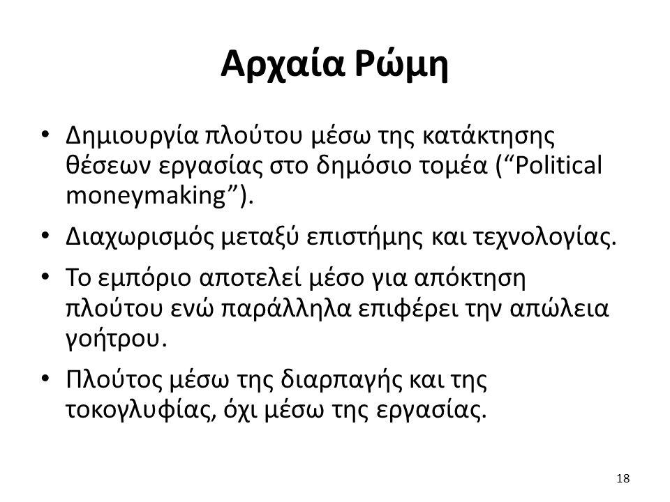 Αρχαία Ρώμη Δημιουργία πλούτου μέσω της κατάκτησης θέσεων εργασίας στο δημόσιο τομέα ( Political moneymaking ).