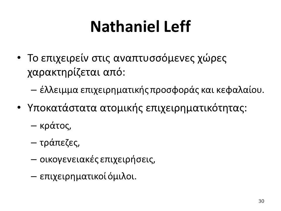 Nathaniel Leff Το επιχειρείν στις αναπτυσσόμενες χώρες χαρακτηρίζεται από: – έλλειμμα επιχειρηματικής προσφοράς και κεφαλαίου. Υποκατάστατα ατομικής ε