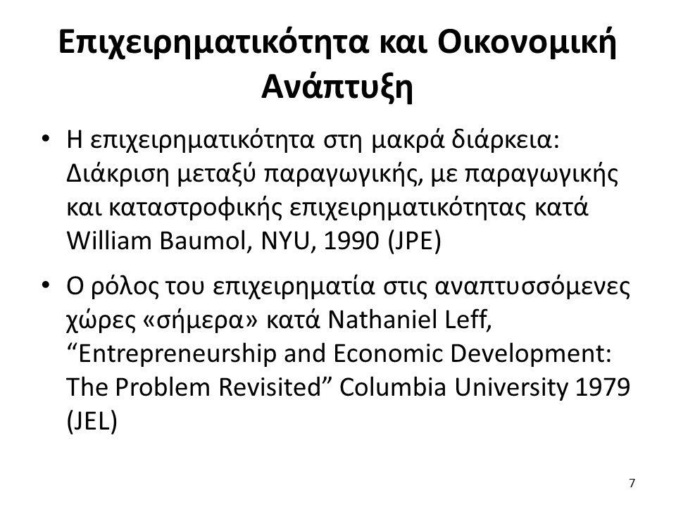 Επιχειρηματικότητα και Οικονομική Ανάπτυξη Η επιχειρηματικότητα στη μακρά διάρκεια: Διάκριση μεταξύ παραγωγικής, με παραγωγικής και καταστροφικής επιχειρηματικότητας κατά William Baumol, NYU, 1990 (JPE) Ο ρόλος του επιχειρηματία στις αναπτυσσόμενες χώρες «σήμερα» κατά Nathaniel Leff, Entrepreneurship and Economic Development: The Problem Revisited Columbia University 1979 (JEL) 7