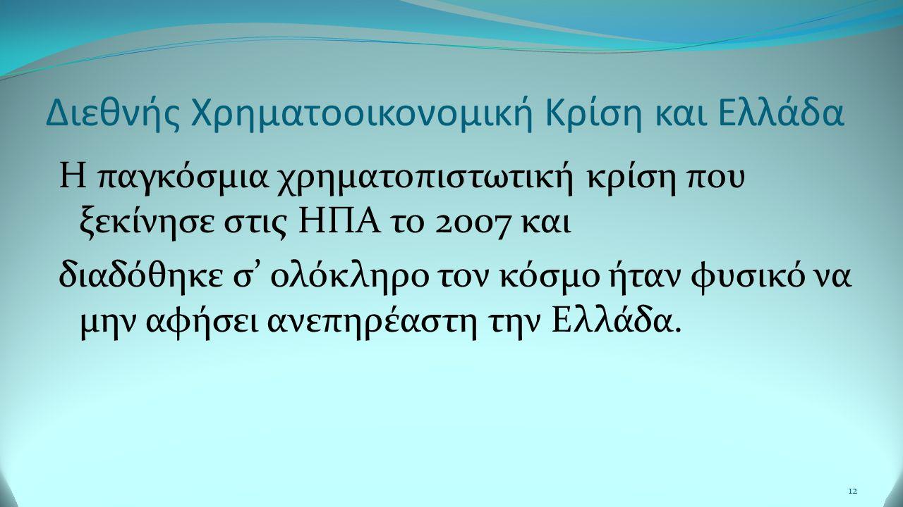 Διεθνής Χρηματοοικονομική Κρίση και Ελλάδα Η παγκόσμια χρηματοπιστωτική κρίση που ξεκίνησε στις ΗΠΑ το 2007 και διαδόθηκε σ' ολόκληρο τον κόσμο ήταν φυσικό να μην αφήσει ανεπηρέαστη την Ελλάδα.