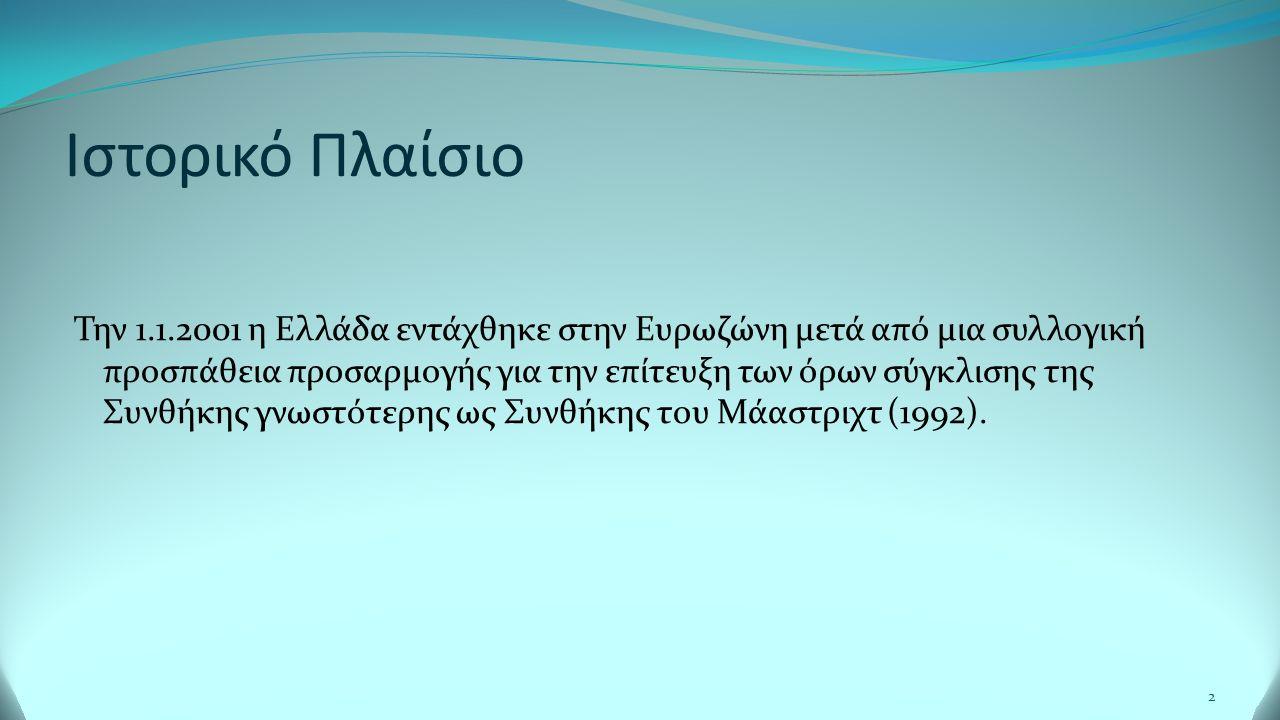 Ιστορικό Πλαίσιο Την 1.1.2001 η Ελλάδα εντάχθηκε στην Ευρωζώνη μετά από μια συλλογική προσπάθεια προσαρμογής για την επίτευξη των όρων σύγκλισης της Συνθήκης γνωστότερης ως Συνθήκης του Μάαστριχτ (1992).