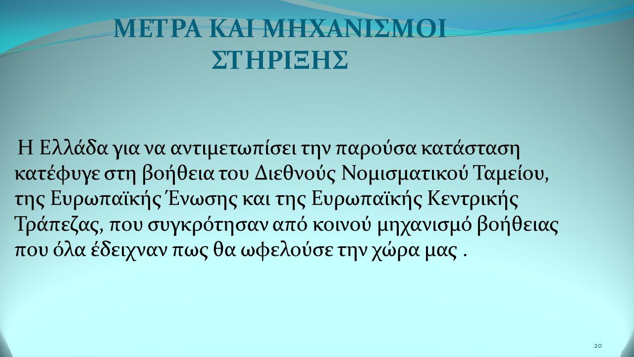 20 Η Ελλάδα για να αντιμετωπίσει την παρούσα κατάσταση κατέφυγε στη βοήθεια του Διεθνούς Νομισματικού Ταμείου, της Ευρωπαϊκής Ένωσης και της Ευρωπαϊκής Κεντρικής Τράπεζας, που συγκρότησαν από κοινού μηχανισμό βοήθειας που όλα έδειχναν πως θα ωφελούσε την χώρα μας.