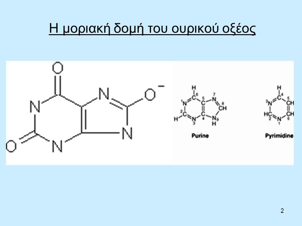 3 Το ουρικό οξύ ως καταβολικό προϊόν Το ουρικό οξύ είναι το τελικό προϊόν του μεταβολισμού των πουρινικών βάσεων (αδενίνη, γουανίνη, ξανθίνη), που αποτελούν τμήμα νουκλεϊκών οξέων (DNA, RNA).