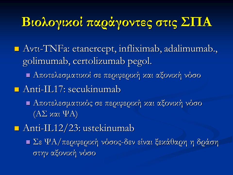Βιολογικοί παράγοντες στις ΣΠΑ Αντι-TNFa: etanercept, infliximab, adalimumab., golimumab, certolizumab pegol. Αντι-TNFa: etanercept, infliximab, adali