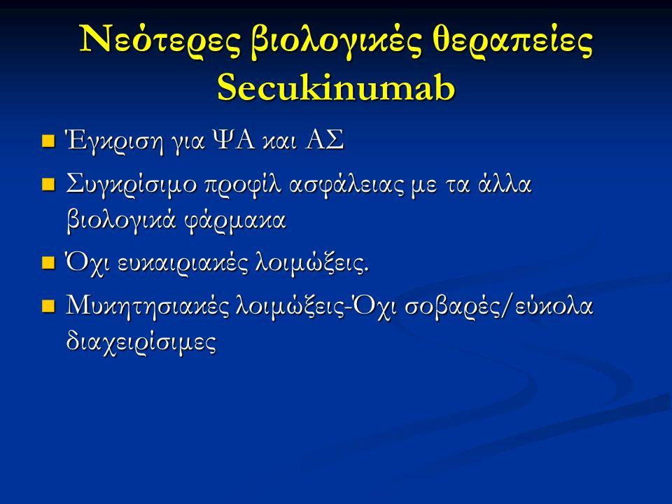 Νεότερες βιολογικές θεραπείες Secukinumab Έγκριση για ΨΑ και ΑΣ Έγκριση για ΨΑ και ΑΣ Συγκρίσιμο προφίλ ασφάλειας με τα άλλα βιολογικά φάρμακα Συγκρίσ