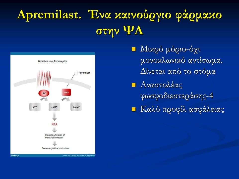 Apremilast. Ένα καινούργιο φάρμακο στην ΨΑ Μικρό μόριο-όχι μονοκλωνικό αντίσωμα. Δίνεται από το στόμα Αναστολέας φωσφοδιεστεράσης-4 Καλό προφίλ ασφάλε