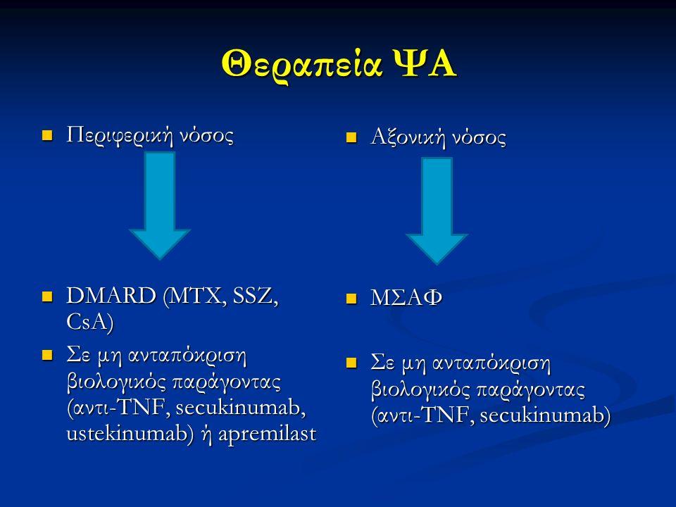 Θεραπεία ΨΑ Περιφερική νόσος Περιφερική νόσος DMARD (MTX, SSZ, CsA) DMARD (MTX, SSZ, CsA) Σε μη ανταπόκριση βιολογικός παράγοντας (αντι-TNF, secukinum