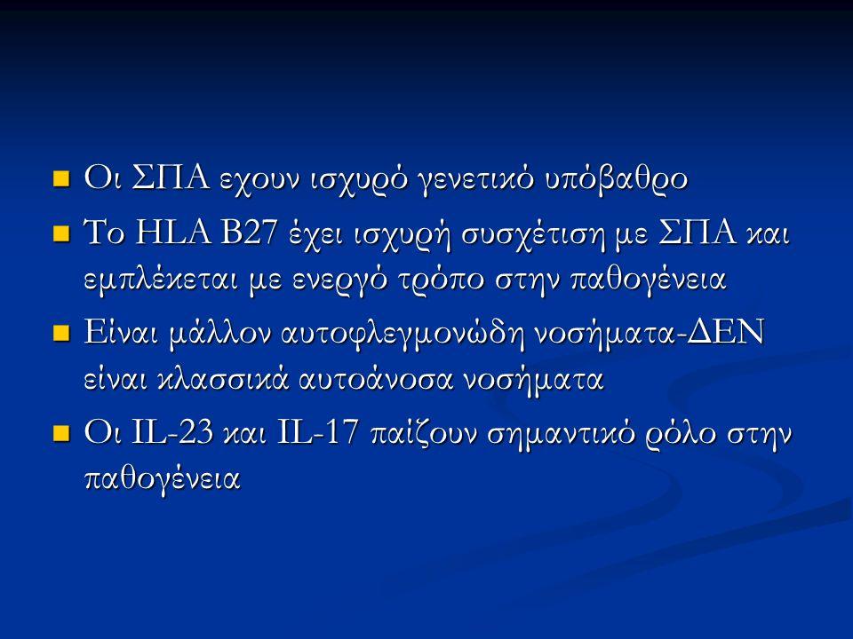 Οι ΣΠΑ εχουν ισχυρό γενετικό υπόβαθρο Οι ΣΠΑ εχουν ισχυρό γενετικό υπόβαθρο Το HLA B27 έχει ισχυρή συσχέτιση με ΣΠΑ και εμπλέκεται με ενεργό τρόπο στη