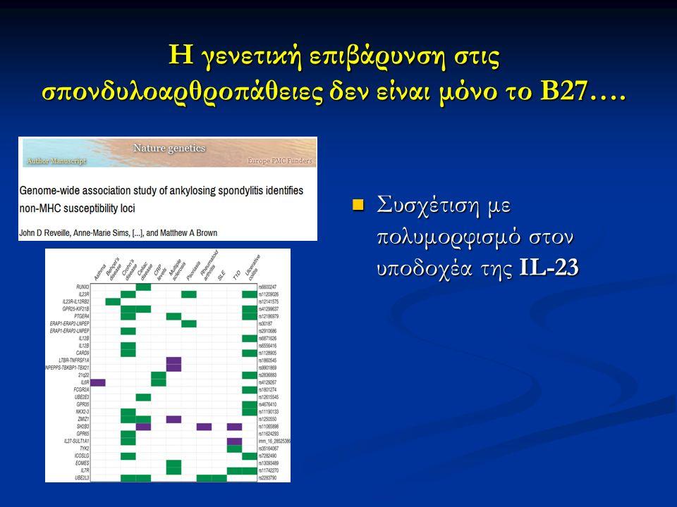 Η γενετική επιβάρυνση στις σπονδυλοαρθροπάθειες δεν είναι μόνο το Β27…. Συσχέτιση με πολυμορφισμό στον υποδοχέα της IL-23