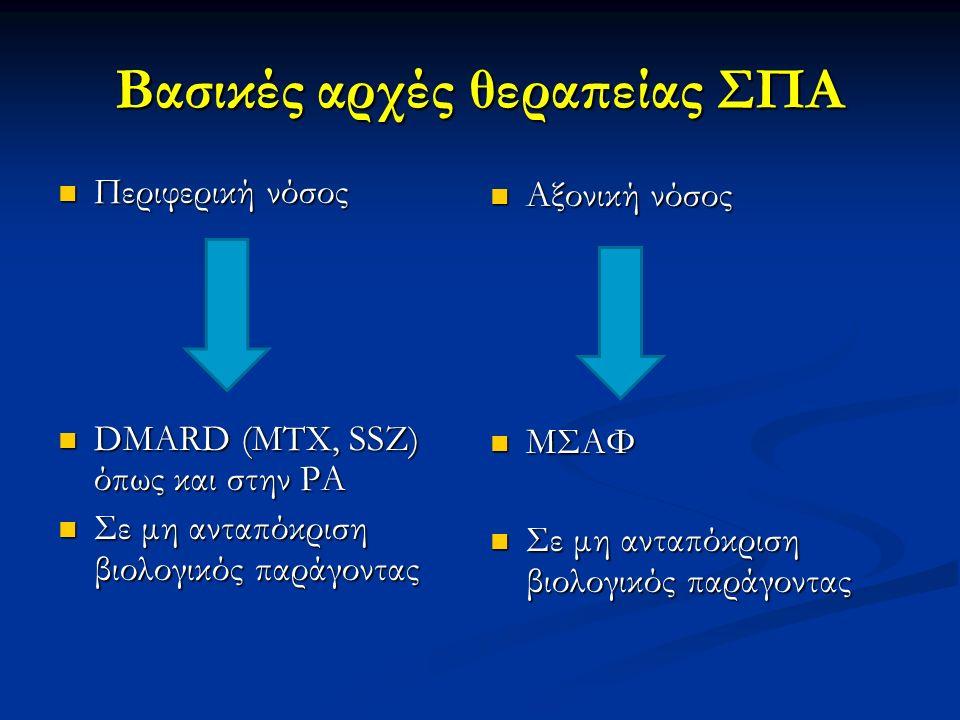 Βασικές αρχές θεραπείας ΣΠΑ Περιφερική νόσος Περιφερική νόσος DMARD (MTX, SSZ) όπως και στην ΡΑ DMARD (MTX, SSZ) όπως και στην ΡΑ Σε μη ανταπόκριση βι