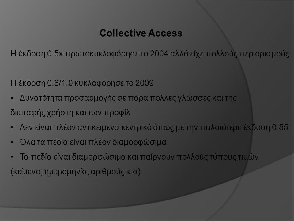 Collective Access Η έκδοση 0.5x πρωτοκυκλοφόρησε το 2004 αλλά είχε πολλούς περιορισμούς Η έκδοση 0.6/1.0 κυκλοφόρησε το 2009 Δυνατότητα προσαρμογής σε