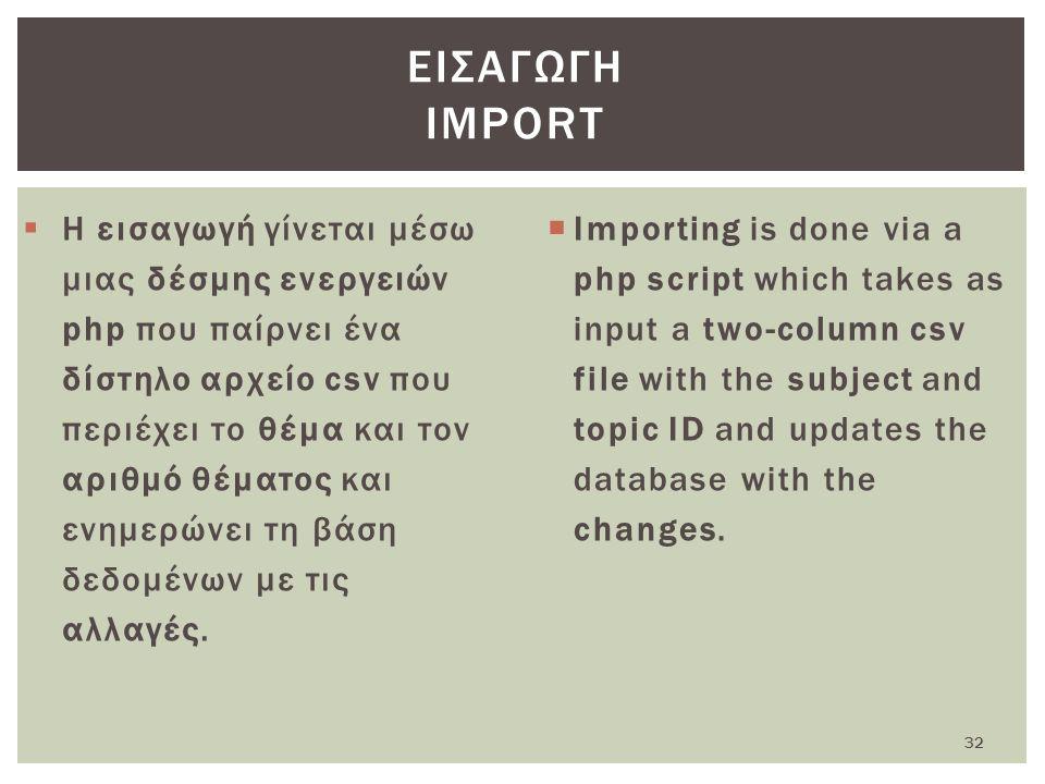  Η εισαγωγή γίνεται μέσω μιας δέσμης ενεργειών php που παίρνει ένα δίστηλο αρχείο csv που περιέχει το θέμα και τον αριθμό θέματος και ενημερώνει τη βάση δεδομένων με τις αλλαγές.