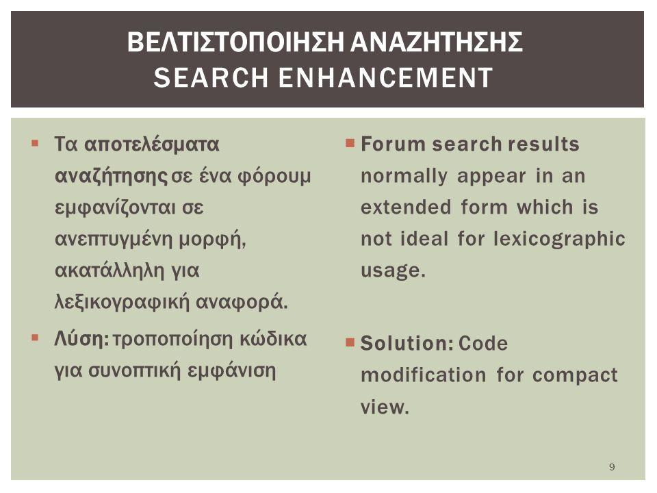  Τα αποτελέσματα αναζήτησης σε ένα φόρουμ εμφανίζονται σε ανεπτυγμένη μορφή, ακατάλληλη για λεξικογραφική αναφορά.