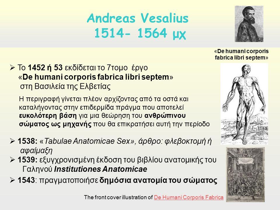 De hymani corporis fabrika, A. Vesalius Andreas Vesalius 1514- 1564 μχ  Το 1452 ή 53 εκδίδεται το 7τομο έργο «De humani corporis fabrica libri septem