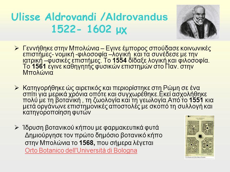  Γεννήθηκε στην Μπολώνια – Εγινε έμπορος σπούδασε κοινωνικές επιστήμες- νομική -φιλοσοφία –λογική και τα συνέδεσε με την ιατρική –φυσικές επιστήμες.