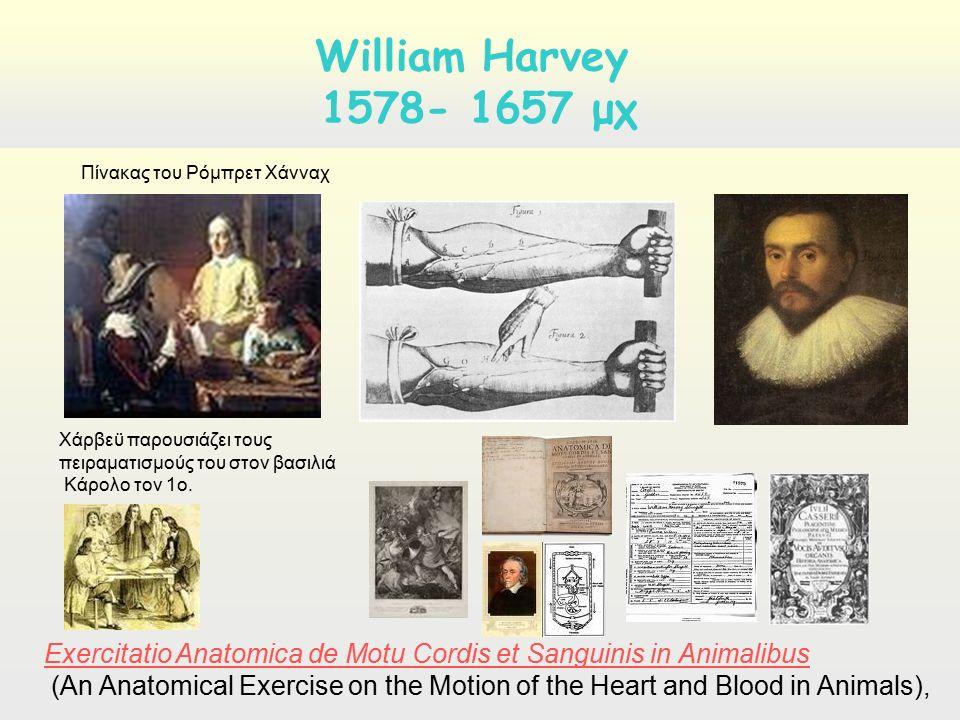 Χάρβεϋ παρουσιάζει τους πειραματισμούς του στον βασιλιά Κάρολο τον 1ο. William Harvey 1578- 1657 μχ Πίνακας του Ρόμπρετ Χάνναχ Exercitatio Anatomica d
