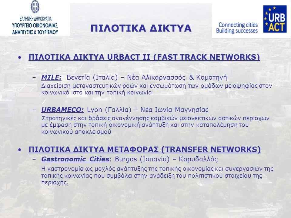 ΠΙΛΟΤΙΚΑ ΔΙΚΤΥΑ ΠΙΛΟΤΙΚΑ ΔΙΚΤΥΑ URBACT II (FAST TRACK NETWORKS)ΠΙΛΟΤΙΚΑ ΔΙΚΤΥΑ URBACT II (FAST TRACK NETWORKS) –MILE: Βενετία (Ιταλία) – Νέα Αλικαρνασσός & Κομοτηνή Διαχείριση μεταναστευτικών ροών και ενσωμάτωση των ομάδων μειοψηφίας στον κοινωνικό ιστό και την τοπική κοινωνία –URBAMECO: Lyon (Γαλλία) – Νέα Ιωνία Μαγνησίας Στρατηγικές και δράσεις αναγέννησης κομβικών μειονεκτικών αστικών περιοχών με έμφαση στην τοπική οικονομική ανάπτυξη και στην καταπολέμηση του κοινωνικού αποκλεισμού ΠΙΛΟΤΙΚΑ ΔΙΚΤΥΑ ΜΕΤΑΦΟΡΑΣ (TRANSFER NETWORKS)ΠΙΛΟΤΙΚΑ ΔΙΚΤΥΑ ΜΕΤΑΦΟΡΑΣ (TRANSFER NETWORKS) –Gastronomic Cities: Burgos (Ισπανία) – Κορυδαλλός Η γαστρονομία ως μοχλός ανάπτυξης της τοπικής οικονομίας και συνεργασιών της τοπικής κοινωνίας που συμβάλει στην ανάδειξη του πολιτιστικού στοιχείου της περιοχής.