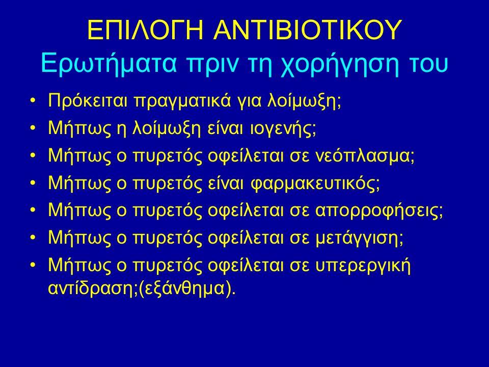 Αρχές αντιμικροβιακής θεραπείας Κοινά λάθη : 2 Κατά την εμπειρική κάλυψη: Αποφεύγουμε την ομάδα αντιβιοτικών που έλαβε ο ασθενής το τελευταίο τρίμηνο Λαμβάνουμε υπόψη τα επιδημιολογικά δεδομένα Ελέγχουμε παράγοντες για πολυανθεκτικά ή GRAM (-) Προσοχή στην διαχείριση του όρου «ανοσοκαταστολή»