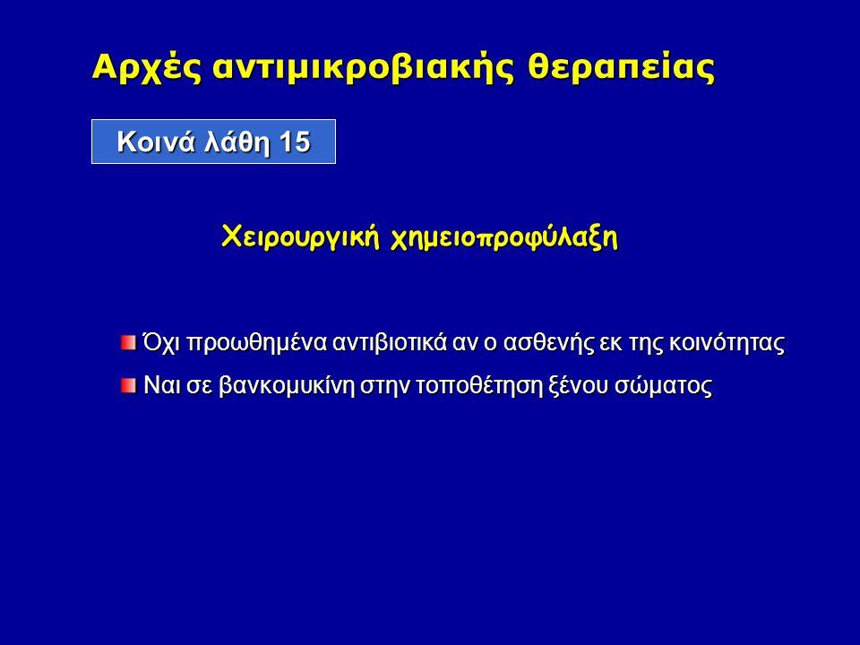 Αρχές αντιμικροβιακής θεραπείας Kοινά λάθη 15 Χειρουργική χημειοπροφύλαξη Όχι προωθημένα αντιβιοτικά αν ο ασθενής εκ της κοινότητας Όχι προωθημένα αντιβιοτικά αν ο ασθενής εκ της κοινότητας Ναι σε βανκομυκίνη στην τοποθέτηση ξένου σώματος Ναι σε βανκομυκίνη στην τοποθέτηση ξένου σώματος