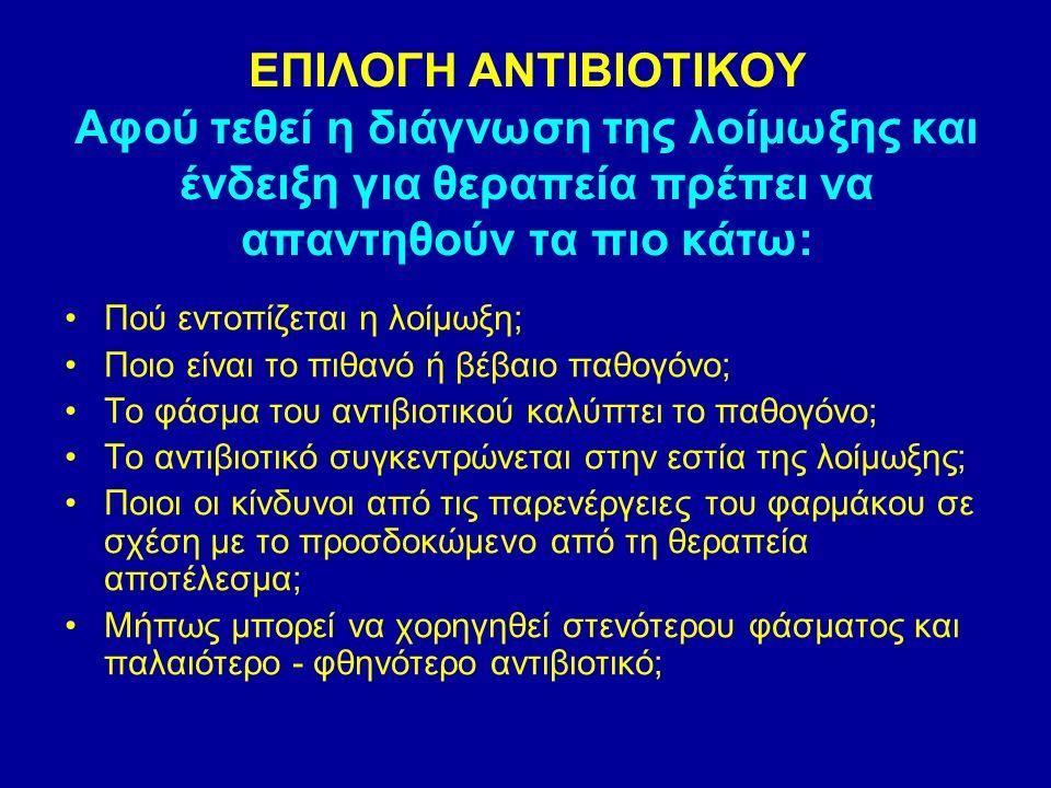 ΕΠΙΛΟΓΗ ΑΝΤΙΒΙΟΤΙΚΟΥ Αφού τεθεί η διάγνωση της λοίμωξης και ένδειξη για θεραπεία πρέπει να απαντηθούν τα πιο κάτω: Πού εντοπίζεται η λοίμωξη; Ποιο είναι το πιθανό ή βέβαιο παθογόνο; Το φάσμα του αντιβιοτικού καλύπτει το παθογόνο; Το αντιβιοτικό συγκεντρώνεται στην εστία της λοίμωξης; Ποιοι οι κίνδυνοι από τις παρενέργειες του φαρμάκου σε σχέση με το προσδοκώμενο από τη θεραπεία αποτέλεσμα; Μήπως μπορεί να χορηγηθεί στενότερου φάσματος και παλαιότερο - φθηνότερο αντιβιοτικό;