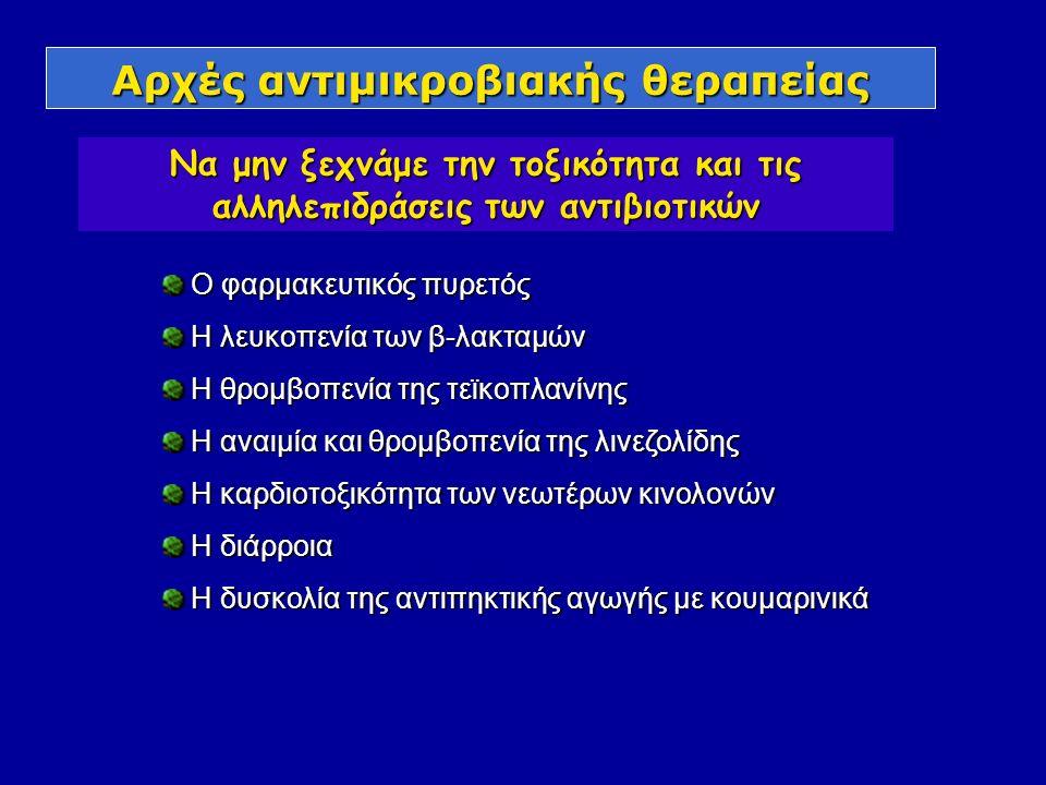 Αρχές αντιμικροβιακής θεραπείας Να μην ξεχνάμε την τοξικότητα και τις αλληλεπιδράσεις των αντιβιοτικών Ο φαρμακευτικός πυρετός Ο φαρμακευτικός πυρετός Η λευκοπενία των β-λακταμών Η λευκοπενία των β-λακταμών Η θρομβοπενία της τεϊκοπλανίνης Η θρομβοπενία της τεϊκοπλανίνης Η αναιμία και θρομβοπενία της λινεζολίδης Η αναιμία και θρομβοπενία της λινεζολίδης Η καρδιοτοξικότητα των νεωτέρων κινολονών Η καρδιοτοξικότητα των νεωτέρων κινολονών Η διάρροια Η διάρροια Η δυσκολία της αντιπηκτικής αγωγής με κουμαρινικά Η δυσκολία της αντιπηκτικής αγωγής με κουμαρινικά